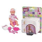 Simba 105039005 - New Born Baby, Funktions-Baby-Puppe (trinkt/näßt), inklusive Zubehör, 43 cm & 105561906 - Puppen-Windeln, 38-43cm, 5 Stück