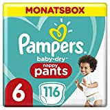 Pampers Größe 6 Baby Dry Windeln Pants, 116 Stück, MONATSBOX, Für Atmungsaktive Trockenheit (15+kg)